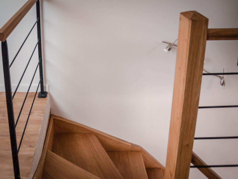 Escalier droit et colimaçon en chêne