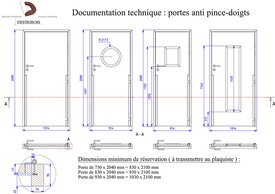 Documentation technique porte anti-pince doigt